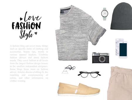 fashion blogger concept. Minimal set of Feminine accessories on white background. Imagens