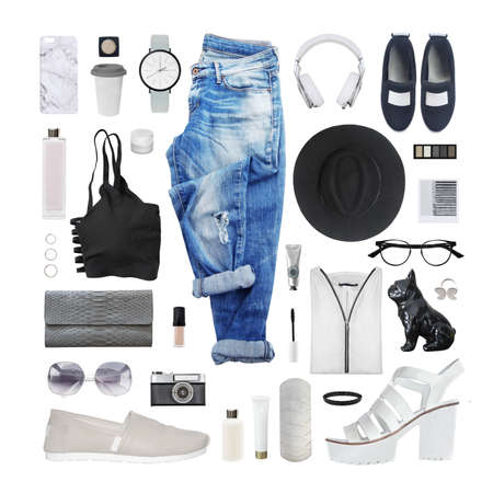 fashion blogger concept. Minimal set of Feminine accessories on white background. Banco de Imagens