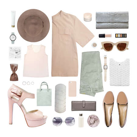fashion blogger concept. Minimal set of Feminine accessories on white background. 스톡 콘텐츠