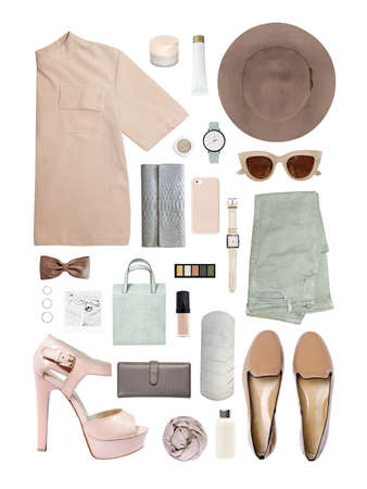 fashion blogger concept. Minimal set of Feminine accessories on white background. 版權商用圖片