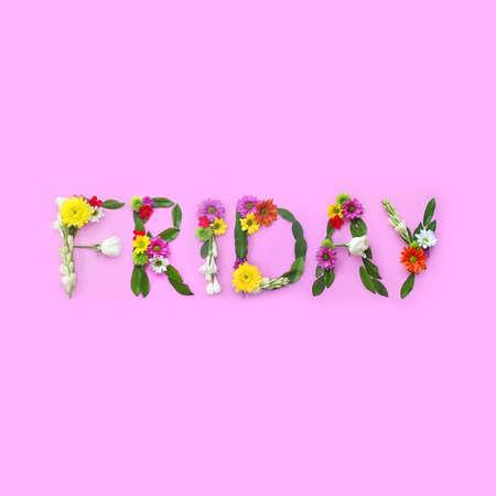 金曜日。ピンクの背景に花のコラージュ
