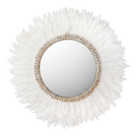 mirror in feather and shell brown frame isolated on white background. Details of modern boho bohemian tribal ethno style, eco friendly design interior
