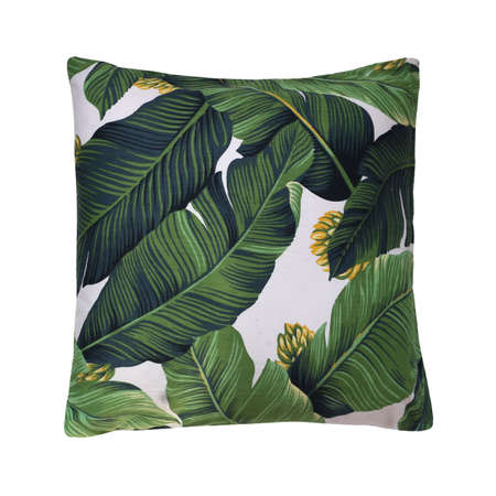 pillow cushion isolated on white background. Details of modern boho, bohemian, tropical and scandinavian style. Stock Photo