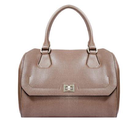 beige leather bag isolated on white background. minimalist purse ,handbag, briefcase
