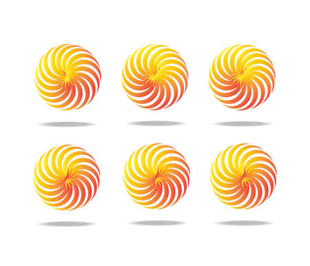 Spiral motion 6 set. white background Illustration