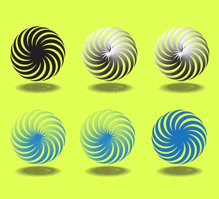 Yellow background spiral motion turbine. Stock Vector - 81011738