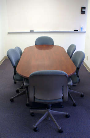 Meeting or conference table waiting for employees.
