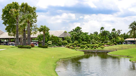 riverside landscaping: Lakeside View of an thailand Landscape Garden