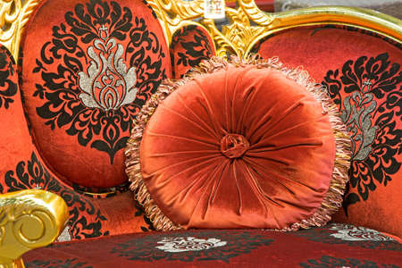luxuriously: Details of luxury sofa with pillows placed on the sofa.