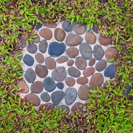Concrete with pebbles brick, pattern garden decoration photo