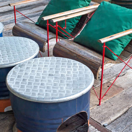 Round Table, made of steelcovered with a sheet of aluminum. photo