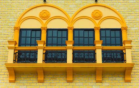 lattice window: four windows in residential area Stock Photo