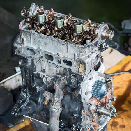 Old car engine inside view.