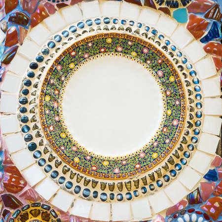Ceramic fragments used to decorate a wall. Archivio Fotografico