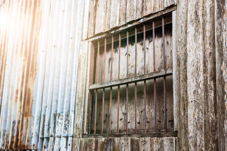 Backgrounds of vintage metal sheet and wood with old window