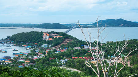 High angle shots landscape of island and lake with the house, Songkhla lake, Koh Yo island, Songkhla province, travel in Thailand, Beautiful destination place, Asia.