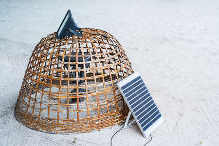 Small electric solar cells, solar panels on the beach