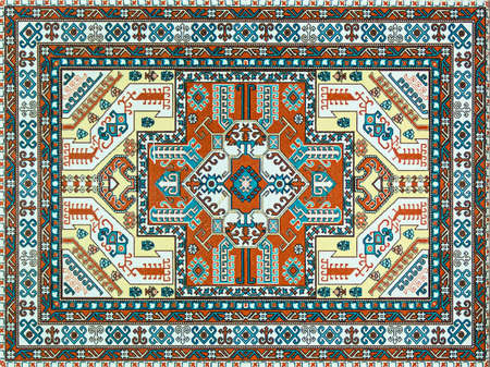 Colorful oriental pixel mosaic rug with traditional folk geometric ornament. Carpet border frame pattern. 写真素材