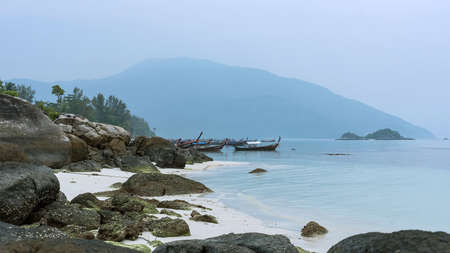 Longtail boat and beautiful ocean of Koh Lipe island, Thailand.