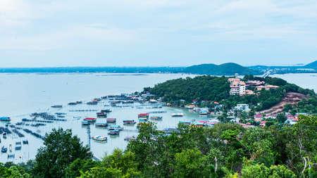 Fisherman Village. Pak Nam Chumphon. View from Khao (Hill) Matsee Viewpoint in Chumphon province. 版權商用圖片 - 163033712