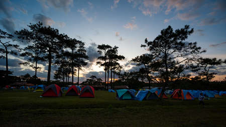 Tent large number of tourists, At Phu Kradueng National park, Beautiful landscape during sunset.