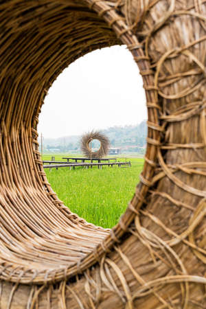 A bench made of round rattan and straw in a green paddy field. 版權商用圖片