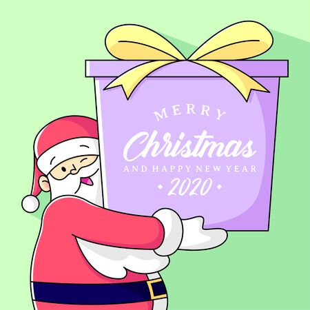 SANTA CLAUS BRING A BIG PRESENT WITH CHRISTMAS AND HAPPY NEW YEAR GREETING TEXT. Banque d'images - 135503589