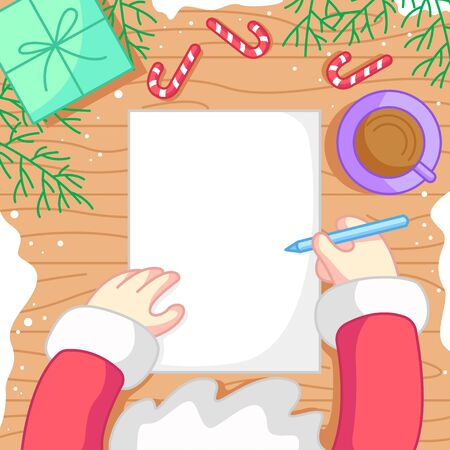 SANTA WRITING ON A PAPER WITH A GLASS OF HOT CHOCOLATE, CANDY, A PRESENT AND PINE LEAFS AROUND. Ilustrace