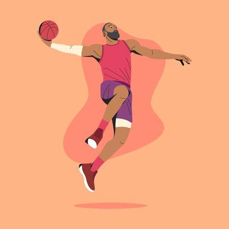 BASKETBALL PLAYER SLAM DUNK MOVES ILLUSTRATION. Vecteurs