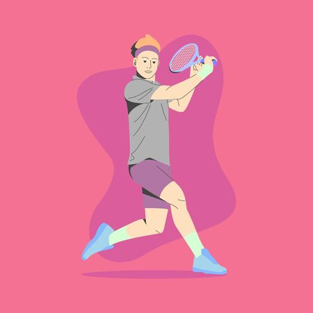 MALE TENNIS PLAYER WEARING HEADBAND IS READY TO HIT THE BALL ILLUSTRATION