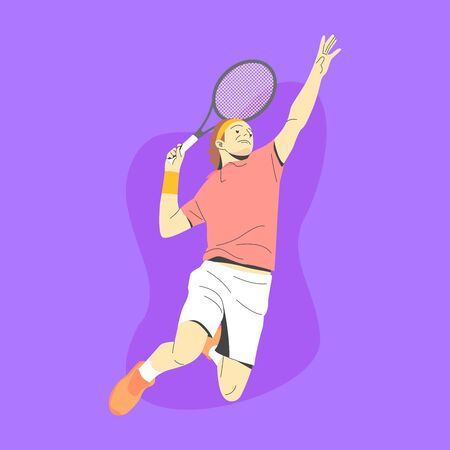 WHITE MALE TENNIS PLAYER JUMP AND READY TO SMASH THE BALL ILLUSTRATION 向量圖像