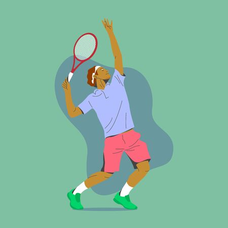 BROWN SKIN TENNIS PLAYER READY TO SERVICE THE BALL ILLUSTRATION
