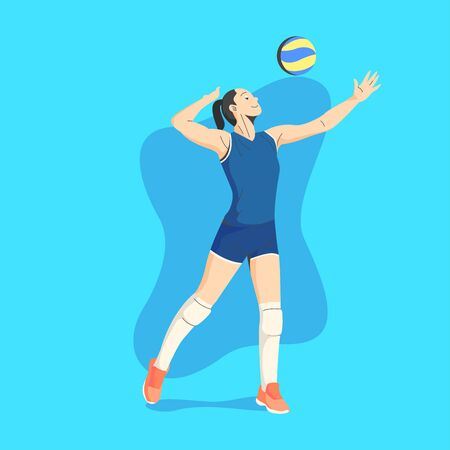 WHITE SKIN AND BLACK HAIR FEMALE VOLLEY BALL PLAYER READY TO SERVICE THE BALL ILLUSTRATION Vettoriali