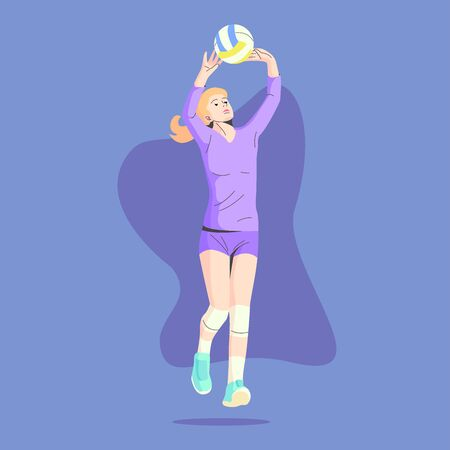 WHITE SKIN AND BLONDE HAIR FEMALE VOLLEY BALL PLAYER IS PASSING THE BALL ILLUSTRATION