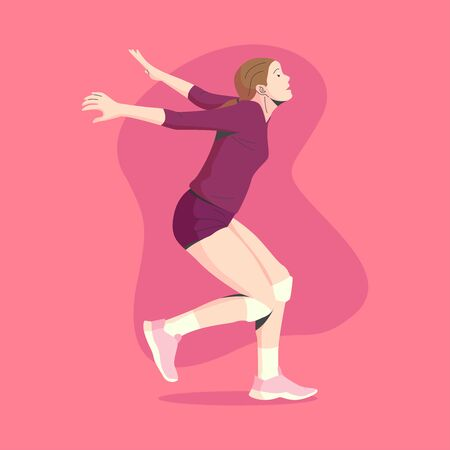 WHITE SKIN AND BROWN HAIR FEMALE VOLLEY BALL PLAYER IS READY TO JUMP AND SMASH THE BALL ILLUSTRATION 向量圖像