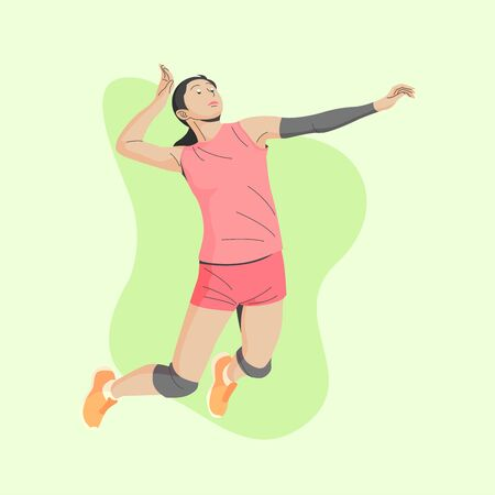 BROWN SKIN AND DARK HAIR FEMALE VOLLEY BALL PLAYER IS JUMPING AND READY TO SMASH THE BALL ILLUSTRATION 向量圖像