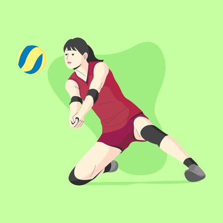WHITE SKIN FEMALE VOLLEY BALL PLAYER KNEEL DOWN TO GET THE BALL ILLUSTRATION Vettoriali