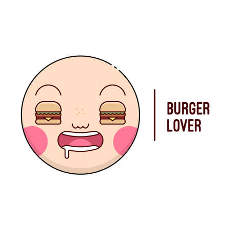 FUNNY FACE WITH BURGER EYES LOGO FOR CULINARY BUSINESS 일러스트