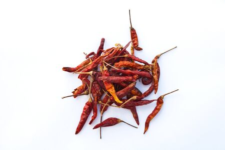 withe background: dry chilli thais style on withe background