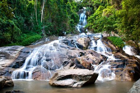 beautiful waterfall at samui island, southern of thailand photo