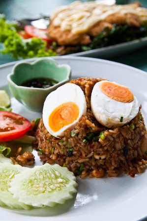 fried rice with chili dip, pork and salt egg photo