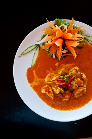 chicken red curry spicy thai food photo