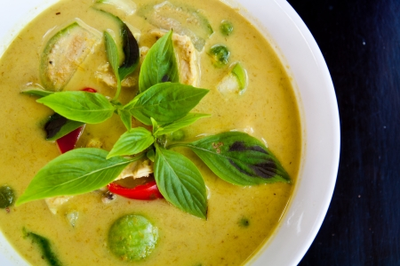vegetable curry: green curry soup with chicken thai food Stock Photo