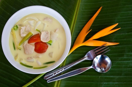 tom: local thai style coconut milk soup with chicken (Tom kha kai)