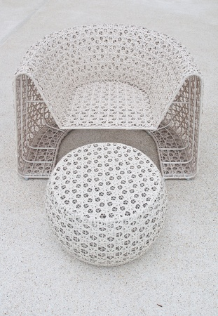 plastic chair and table weave for swimming pool terrace photo