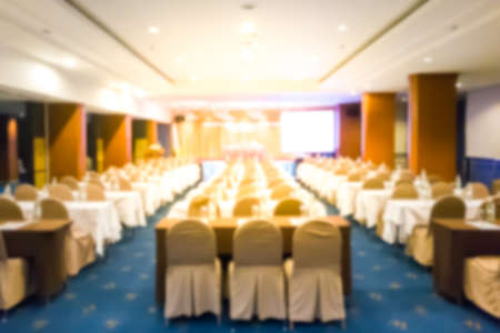 Blurred a seminar room that is prepared for use in the hotel