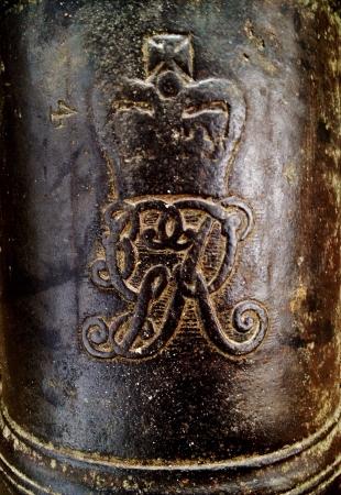 Antique cannon monogram detail