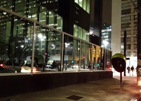 City lights reflected on windows Stock Photo