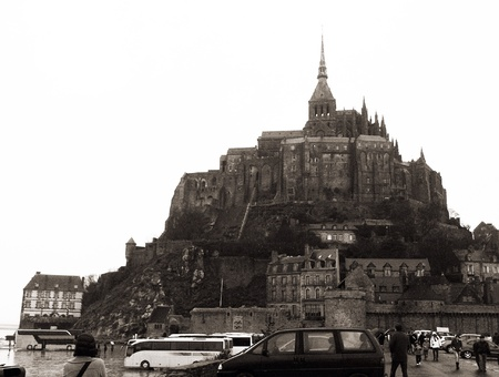 Mont St. Michel Normandy France at low tide