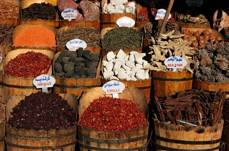 Spices for sale at a bazaar Stock Photo